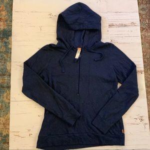 Lucy blue half zip top with hood L